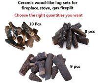 Wood-like 8 9  10 Pcs Ceramic decorative Log Set for Fireplace, stoves, firepit
