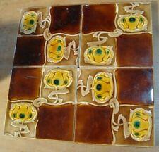 Lot of 4 Art Nouveau original period antique stylized flowers tiles w/faults