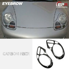 New 2pcs Headlight Eyebrow Eyelid Trim Moulding For Porsche 911 996 Carbon Fiber