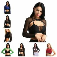 Women Fishnet Mesh Crop Tops Tees See Through Long Sleeve T-shirt Cover Up Shrug