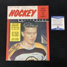 Allan Stanley Signed Boston Bruins 1958 Hockey Pictorial Magazine Beckett COA