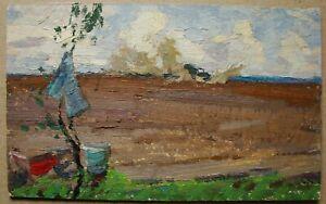 Russian Ukrainian Soviet Oil Painting impressionism landscape plowed land field