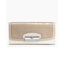NWT  Coach Kristin Spectator Leather Slim Envelope Wallet F49007 Taupe Multi