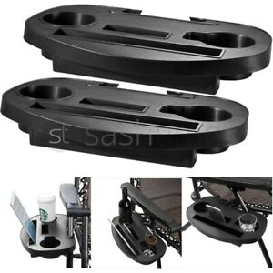 2 x Clip On Side Table Tray For Zero Gravity Sun Lounger/Camping Chair Outdoor