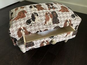 King Charles Spaniel Fabric Footstool with Drawer 40cm