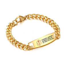 Custom Gold Plated Medical Titanium Steel Bracelet Medical Alert ID Bracelets