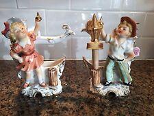 Vintage Ucagco Boy & Girl Candle Holder Figurines