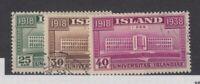 Iceland 1938 University Set SG234/236 VFU JK1994