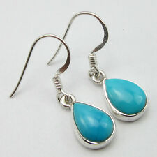 925 Sterling Silver DROP TURQUOISE NEW HANDWORK Earrings 1 1/8 inches BESTSELLER