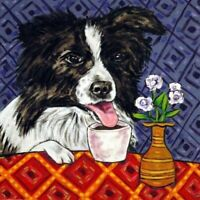 border collie at the coffee shop dog art tile coaster