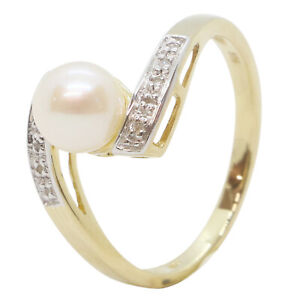 9ct Yellow Gold Fancy Pearl With Diamond Shoulder Stones Twisted Engagement Ring