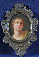 Miniature baroque portrait of a young boy, 18th century