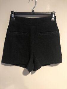 Maje Taille Haute High Waist Wool Blend Black Shorts  Beads NWT$265 Defect 34