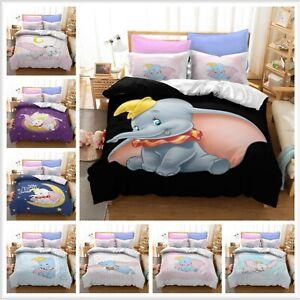 Kids Dumbo Duvet Cover Set 2/3 Pcs Bedding Set Quilt Covers Pillowcase Bed Gifts