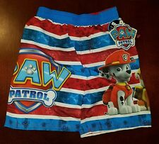 Paw Patrol Red & Blue Toddler Boy Swimming Trunks Shorts 4T New