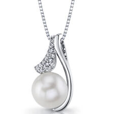 Sterling Silver 10.00mm Freshwater Cultured White Pearl Pendant Necklace
