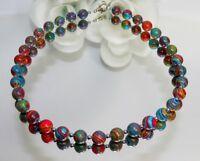 Kette Halskette Perlen Edelstein Achat rot blau grün mehrfarbig Hämatit 214w