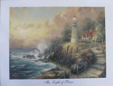 "Thomas Kinkade ""The Light of Peace"" Studio Print 9x13 Lighthouse Ocean Scene Art"