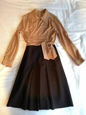 Vintage Beige Brown Berkertex Mod Gogo Geeky Belted Dress Size 10