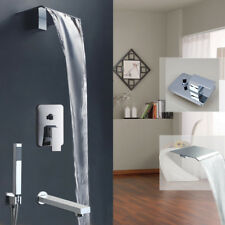 Bathroom Sink Bathtub Wide Spout Waterfall Faucet & Hand Shower Spray Mixer Tap