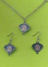 "Chicago Cubs Team Logo Silver Dangle Earrings With Matching 18"" Necklace Pendant"