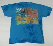 Guy Harvey Gulf Stream Lavado Teñida Pez Espada Atún Azul Medio Camiseta B134