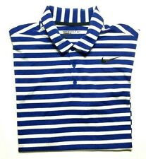 Nike Golf Mens Blue White Striped Standard Fit Polo Shirt Size Large