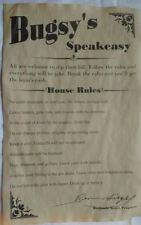 Bugsy Siegel's Speakeasy House Rules Poster 11 x 17, bar, gin joint, speak easy