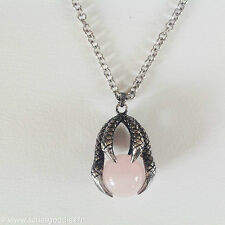 bijou celtique gothique médiéval féerique Collier griffe de dragon quartz rose