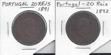 2 OLD 20 REIS COINS from PORTUGAL DATING 1891 & 1892