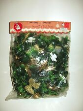 VINTAGE CHRISTMAS HOLLY GARLAND W/GLITTER BOWS DOVES INSTRUMENTS SEALED NIP