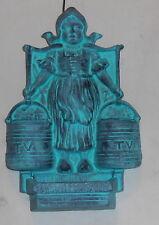 CAST IRON BLUE GREEN VERDIGRIS DUTCH GIRL w/ 2 BUCKETS WALL POCKET/ MATCH HOLDER
