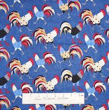 """Rustic Fabric - Cock-a-doodle-doo Patriotic Rooster Toss Blue Henry Glass 33"""""""