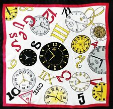 """Vintage GUESS 100% Silk Scarf Watches 28"""" X 29"""" Black Red Yellow White"""