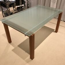 FREEDOM 'Clio' 6 Seater frosted glass & timber dining table desk - Sydney