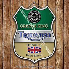 Greene King Triumph Beer Advertising Old Pub Metal Pump Badge Shield Steel Sign