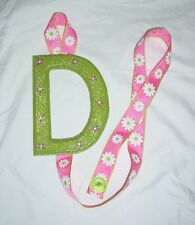 girls letter D green pink flower barrette bow hair accessories storage handmade