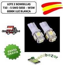 2 BOMBILLAS BOMBILLA COCHE MOTO LED T10 5SMD W5W 6000K BLANCO POSICION INTERIOR