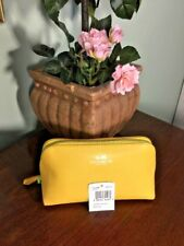 New Coach Cosmetic Bag Crossgrain Leather Make Up Bag F53386 Canary Yellow M2