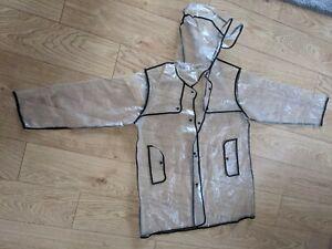 Hooded Clear plastic raincoat size S/M