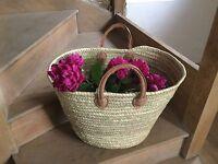Extra Large French Market Basket|| Beach Bag|| Short Leather Handles || Storage