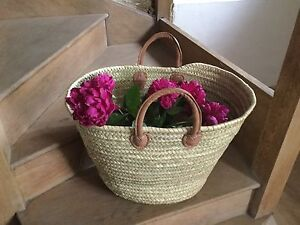 Extra Large French Market Basket|| Beach Bag|| Short Leather Handles || Storage