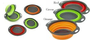 Collapsible Silicone Kitchen Bowl Colander Fruit Vegetable Foldable Strainer UK