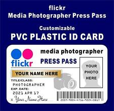 flickr Press Pass ID Card PVC >Customize With Your Photo & Name< PHOTOGRAPHER ID