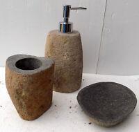 Set bagno pietra composto da dispenser porta sapone spazzolino acessori bagno