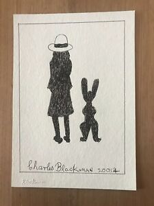 """Charles Blackman """"Schoolgirl And Rabbit"""" Drawing With C.O.A"""