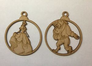 Christmas baubles Beauty and the Beast laser cut 3mm thick mdf craft shape blank