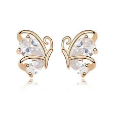 GORGEOUS 18K ROSE GOLD PLATED GENUINE CLEAR CUBIC ZIRCONIA BUTTERFLY EARRINGS