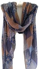 Boho Gypsy Beautiful Patchwork Print Pashmina Scarf Wrap navy Pale Blue Tan