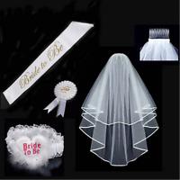 4PCS Bride To Be SET Rosette Badge Sash Garter Veil Hen Night Bachelorette Party
